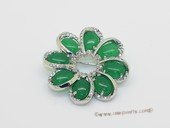 brooch160 Silver tone flower design mountings green jade gemstone brooches