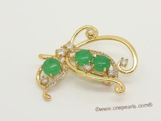 brooch161 Gemstone Gold Tone Brooch with Zircon Beads