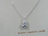 bsp005 Sterling Silver pig Charm  pendant with 16 inch Box Chain