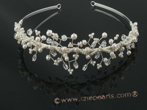 btj021 wholesale hand wired pearl&crystal Abigail Bridal tiara