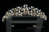 btj043 Hand-wired Pearl floral Pleasure tiara headpiece