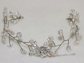 btj046 Silver Tone Clear Crystal & Pearl Bridal Headpiece