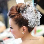 btj047 Pretty  mesh and organza hair accessories bridal freshwater pearl headpiece