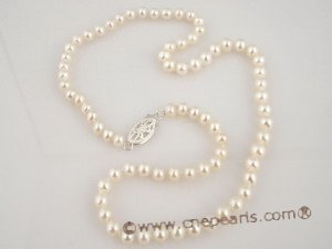 bypn003 Fine flower children necklace with round pearl from big to small