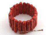 cbr001 8*30 oblong red coral beads bracelet wholesale