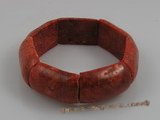 cbr002 20*30mm oblong red coral beads stretchy bracelets