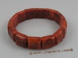 cbr005 20mm square red coral beads stretchy bracelets