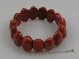 "cbr008 7.5"" 23*20mm oval red coral spring bracelets"