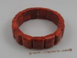 "cbr011 13*18mm oblong red coral beads stretchy bracelets 7.5"" in"