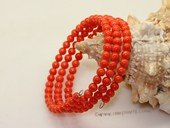 "cbr013 5mm pink round coral beads bracelets,7.5"" in length"
