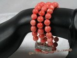 cbr025 Three strands 8mm pink round coral bracelet