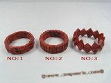 cbr037 oblong red coral spring bracelets for wholesale