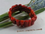 cbr038 9*20mm oblong red coral beads Stretchy bracelet