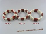 cbr039 oblong coral stretchybracelets mixed with white and red