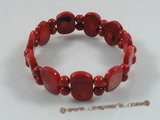 "cbr040 7.5"" 11*18mm oblong red coral stretchy bracelets"