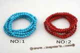cbr043 Gorgeous five strands Turquoise/Coral bracelet on elastic
