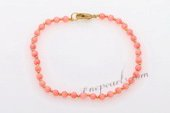 Cbr044 Design 4mm Pink Coral beads Bracelet For the Fall