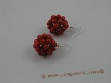 CE001 handcraft knitted 20mm ball shape red round coral beads dangle earring with sterling hook