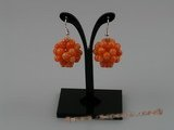 CE002 handcraft knitted 20mm ball shape round coral beads dangling earring with sterling hook