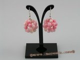 CE003 handcraft knitted 20mm ball shape round pink coral beads dangle earring with 925sterling hook