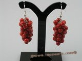 ce005 handcrafted bunch red round coral sterling dangle earrings with 925silver hook
