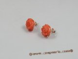 ce014 sterling 12mm flower design pink coral studs earrings