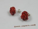 ce015 sterling 10-12mm  flower design red coral studs earrings
