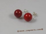 ce016 sterling 9mm round red coral studs earrings