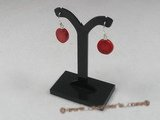 ce020 sterling silver coin shape red coral dangle earrings