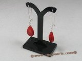 ce021 sterling silver tear-drop red coral arched wire dangle earrings