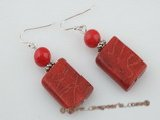 ce023 sterling silver rectangle red coral dangle earrings