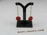 ce025 sterling silver carve flower red coral dangle earrings