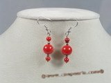 ce026 sterling silver round red coral dangle earrings