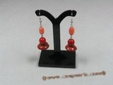ce027 sterling silver dish shape red coral dangle earrings