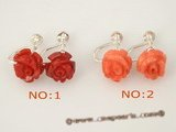 ce028 Wholesale 925silver carve flower clip screwback earring jewelry