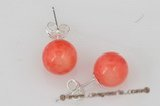 ce040 7-8mm pink round coral 925silver studs earrings
