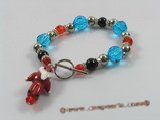 chbr001 Faceted crystal with black agate beads bracelet for christmas