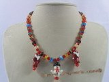 chn001 Red faceted crystal with lampwork beads necklace for Xmas