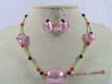 chn004 Red crystal & balck agate Christmas necklace earrings set