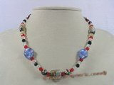 chn008 multicolor chinese crystal & lampwork beads Xmas necklace