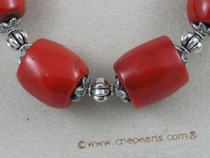 cn008 red tubby coral beads rubber necklace