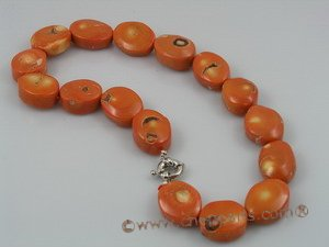 cn010 saffron yellow oval shape coral beads necklace wholesale
