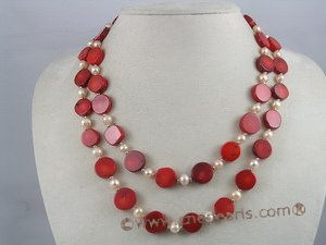 cn012 Red coin coral with potato pearl necklace jewelry in wholesale