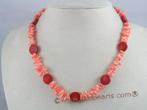 cn022 Pink branch& 12mm coin coral single necklace jewelry