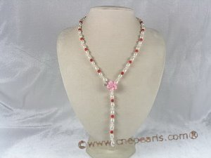 cn024 Rice Pearl Matinee Necklace combine with red coral beads