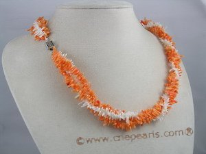 cn027 Triple strand multicolor branch coral twisted necklace onsale