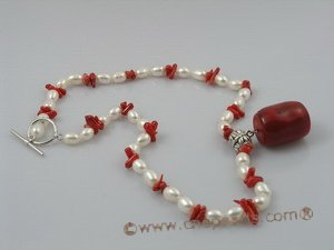 cn032 White rice cultured pearl& branch coral neckalce onsale