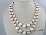 cn035 Double strands gradual change Deep sea tridacna & coral necklace