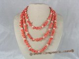 cn037 pink branch coral alternated with cultured pearl rope necklace