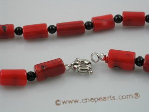 cn061 red tubby coral with black agate beads necklace wholesale